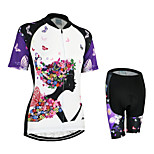 ARSUXEO Women's Short Sleeve Cycling Jerseys Quick Dry Breathable Clothing Cycling Jerseys+Shorts