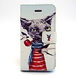The Dog Smoking Pattern PU Leather Phone Holster For iPhone 5/5S