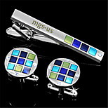 Personalized Gift Men's Engravable Silver Green Blue Pattern Cufflinks and Tie Bar Clip Clasp(1 Set)