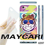 Cartoon Tiger with Glasses Pattern Transparent TPU Soft Back Case for iPhone 6
