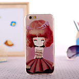 Cartoon Gril Painting Ultrathin TPU with Plastic for iPhone 6
