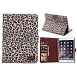 ranuras para tarjetas de cuero de la PU del estilo del leopardo& carpeta con el sostenedor para mini ipad 2/3 (colores surtidos)