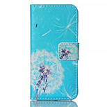 Blue Dandelion Pattern PU Leather Phone Case For iPhone 5/5S