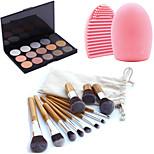 11pcs Makeup Cosmetic Eyebrow Foundation Kabuki Brushes Kits+15 Colors Shimmer Eyeshadow Palette+Brush Cleaning Tool