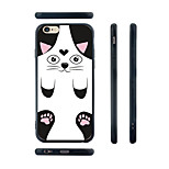 Cartoon Black Cat Pattern Transparent Silicone Rubber Edge Hard Back Case for iPhone 6