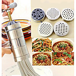 Stainless Steel Cylinder Manual Noodle Press Spaghetti Maker 5 Noodle Moulds