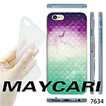 MAYCARI®Gradient Purple White Green Pattern TPU Soft Transparent Back Case for iPhone 6