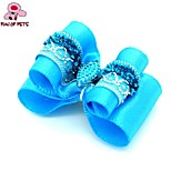 FUN OF PETS® Lovely Blue Rhinestone Decorated Rubber Band Hair Bow for Pet Dogs  (Random Color)