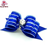 FUN OF PETS® Lovely Ribbon Style Stripe Pattern Rhinestone Decorated Rubber Band Hair Bow for Pet Dogs  (Random Color)