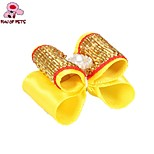 FUN OF PETS® Lovely Golden Ribbon Style Bead Decorated Rubber Band Hair Bow for Pet Dogs(Random Colour)