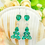 Thanksgiving Gift Drop Round Fire Full Green Quartz Gem .925 Silver Drop Earrings For Wedding Party Daily Holiday 1Pairs