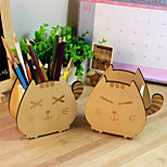Creative Wooden Cartoon Lucky Cat Pencil Holder Cute Accessory Box (Random Color)