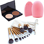 11pc Makeup Cosmetic Eyebrow Foundation Kabuki Brushes Kits+2 Colors Face Powder Makeup Palette+Brush Cleaning Tool