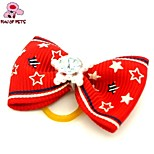 FUN OF PETS®Lovely Ribbon Style Rhinestone Decorated Rubber Band Hair Bow for Pet Dogs  (Random Color)