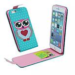 un motif de hibou bascule de haut en bas en cuir PU et la fente de carte de téléphone portable étui pour iPhone 6