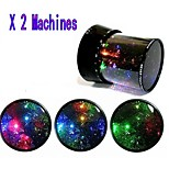 Starry Night Sky Projector Colorful LED Night Light (2 Pieces,Random Color,Powered by 6 AA Battery)