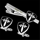 Personalized Gift Men's Engravable Silver Black Plain Shield Cross Pattern Cufflinks and Tie Bar Clip Clasp(1 Set)