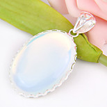 Fashion Forward Mother Gift Oval Fire Moonstone Gem 925 Silver Pendants for Necklaces For Wedding Party Daily 1pc