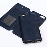 New 2in1 Split fashion Card Holder PU Leather Solid Cover Case for iPhone 6 Plus (Assorted Colors)