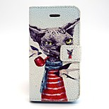 Pipe Dog Pattern PU Leather Full Body Case with Card Slot and Stand for iPhone 5/5S