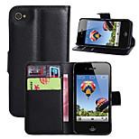 litchi intorno parentesi aperta di cuoio del telefono della carta del raccoglitore adatto per il iphone 4 / 4s (colori assortiti)