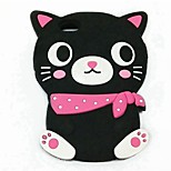 ZIQIAO Cartoon Cat Style Protective Soft Silicone Back Case for IPHONE 4 / 4S