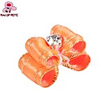 FUN OF PETS® Lovely Ribbon Style Pure Colour with Golden Stripe Rhinestone Decorated Rubber Band Hair Bow for Pet Dogs