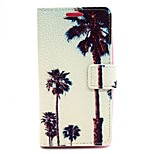 Coconut Tree Pattern PU Leather Material Card Full Body Case for LG G2