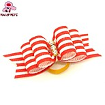 FUN OF PETS® Cute Ribbon Style Stripe Pattern Rhinestone Decorated Rubber Band Hair Bow for Pet Dogs  (Random Color)