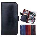 pu cuir de haute qualité couleur unie complet du corps avec des cas de fente de carte avec Stand pour iPhone 6 plus (couleurs assorties)