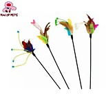 FUN OF PETS® Lovely Flower Shaped Feather Decorated Playing Stick for Pet Cats(Random Colour)