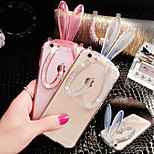 Elegant Decorated Hang Rope Rabbit Ear Scaffold Design Silicone  Hard Back Case for iPhone 6 (Assorted Colors)