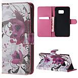 patrón de flores de color púrpura de la PU cuero estuche rígido con soporte para Samsung Galaxy Note 5 / nota 5 borde / nota 4 / nota 3 /
