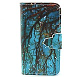 Blue Woods Pattern PU Material  Case for iPhone 4/4S
