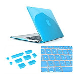 3 in 1 Crystal Clear Case with Keyboard Cover and Silicone Dust Plug for Macbook Pro 13.3
