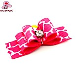 FUN OF PETS® Lovely Ribbon Style Leopard Rhinestone Decorated Rubber Band Hair Bow for Pet Dogs  (Random Color)