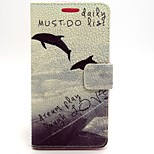 Dolphin Pattern PU Leather Full Body Case with Card Slot and Stand for LG G2/D802