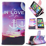 Love Anchor Pattern PU Leahter Full Body Case with Card Slot for Microsoft Lumia 640