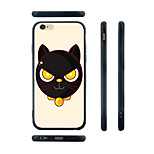 Cartoon Black Cat Head Pattern Transparent Silica Gel Edge Back Case for iPhone 6