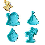 4PCS Coconut Tree Pattern Cake and Cookie Cutter Mold with Plunger