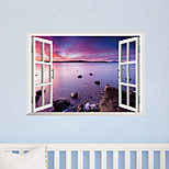 3D Wall Stickers Wall Decals Style Creative Purple Beach PVC Wall Stickers