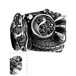 Classical Individual Men's Eight Diagrams Black Cubic Zirconia Stainless Steel  Ring(Black)(1Pc)
