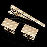 Personalized Gift Men's Engravable Golden Plain Slant Stripes Pattern Cufflinks and Tie Bar Clip Clasp(1 Set)