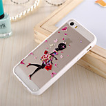 Butterfly Girl Pattern TPU Frame Translucent PC Hard And Lanyard Back Case for iPhone 5/5S