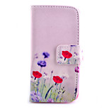Red Flowers Pattern PU Material Card Full Body Case for iPhone 5/5S