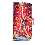 Red Tower Pattern PU Material Card Full Body Case for iPhone 5/5S