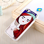 Long Haired Girl Pattern TPU Frame Translucent PC Hard And Lanyard Back Case for iPhone 5/5S