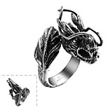 Generous Individual No Decorative Stone Men's Dragon Head Stainless Steel  Ring(Black)(1Pc)
