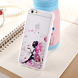 Butterfly Girl Pattern TPU Frame Translucent PC Hard And Lanyard Back Case for iPhone 6