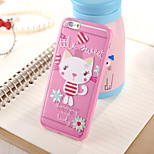 Pink Cat Pattern TPU Frame Translucent PC Hard And Lanyard Back Case for iPhone 6